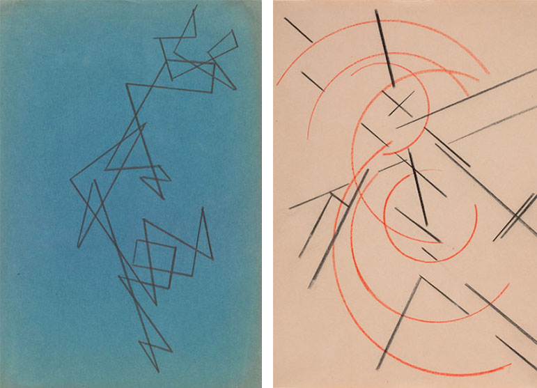 Aleksandr Rodchenko, Untitled. c. 1920 & Lyubov Popova, Study for Space-Force Construction. c. 1921