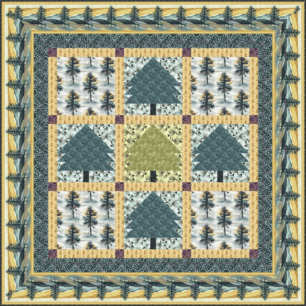 Native Pine table topper-wall quilt