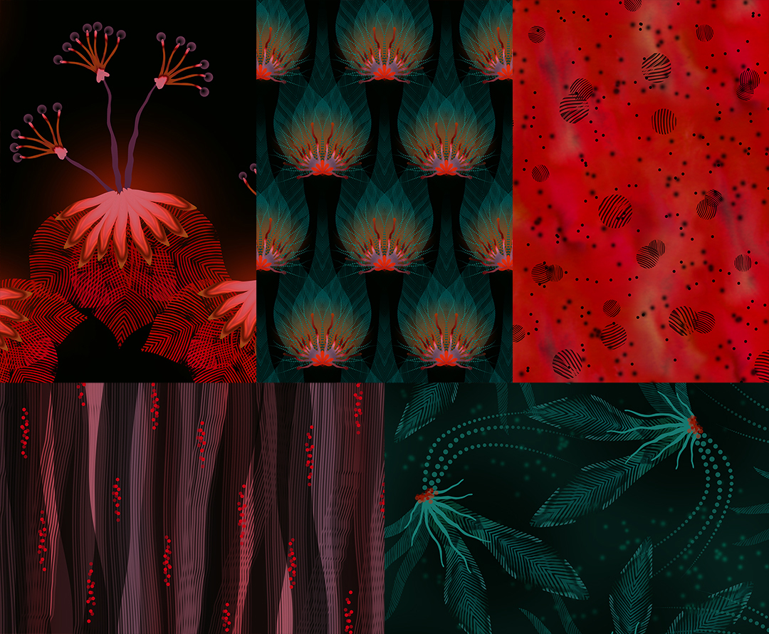 Tropical iridescence inspired collection of 5 patterns.