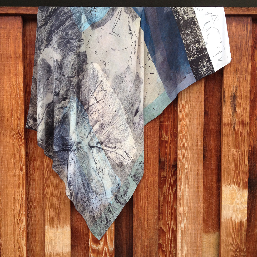 Vivien Haley Acanthus rectangle silk scarf on fence