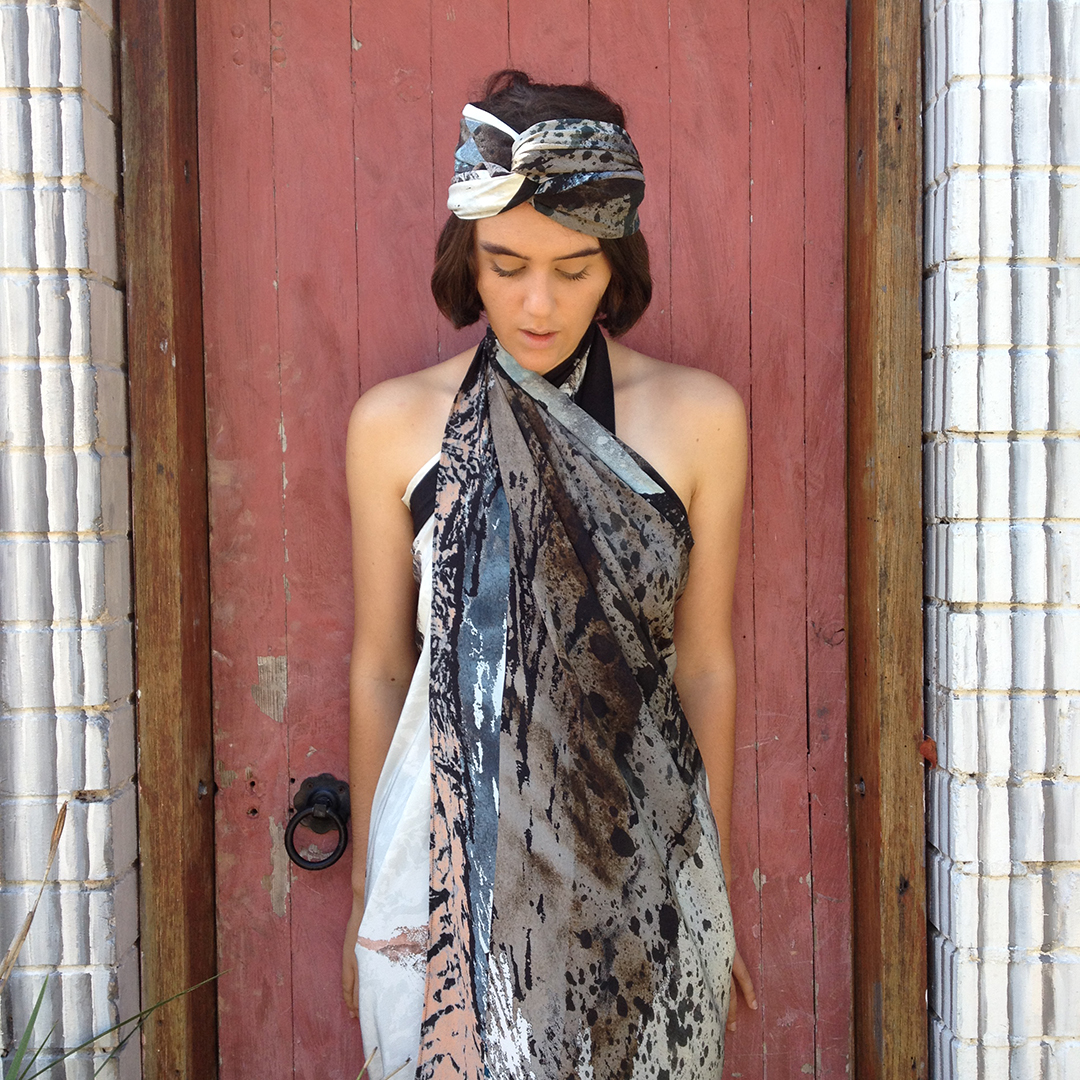 Vivien Haley Hibiscus square and rectangle silk scarves