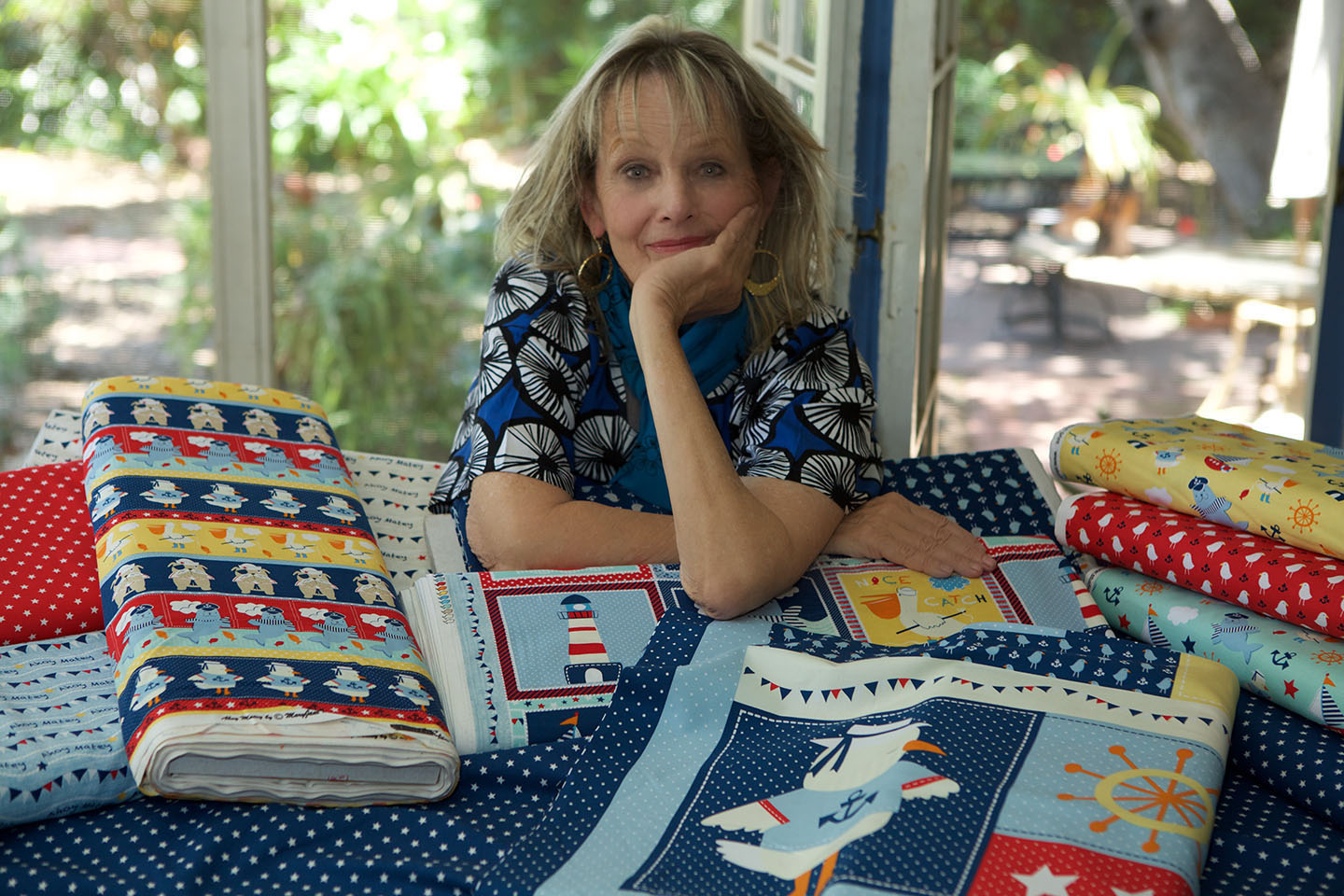 Me in my studio with Ahoy Matey Fabrics